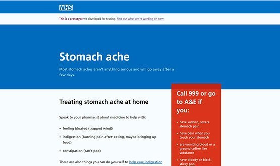 One of the symptom web pages being tested for the NHS.uk website.