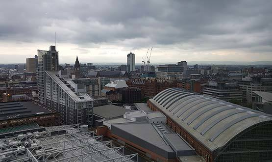 Storm clouds break over Manchester