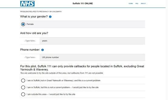 Screenshot from Suffolk's NHS 111 Online