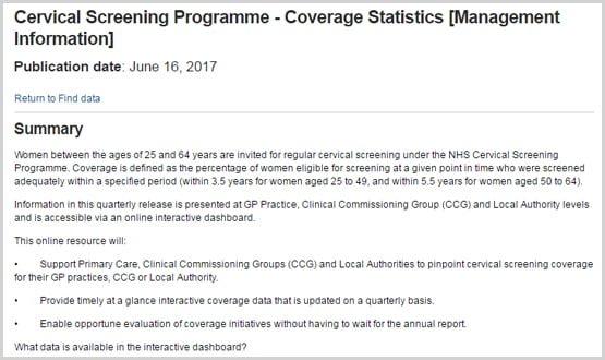 NHS Digital releases cervical screening data tool