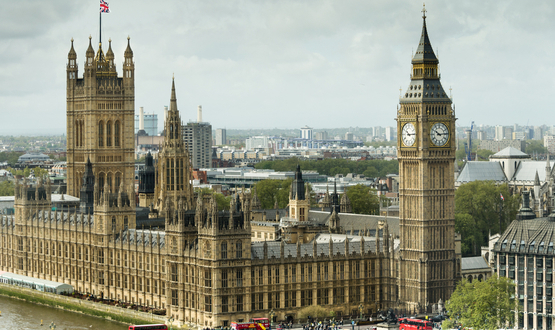A view of the UK Parliament buildings and Big Ben in London