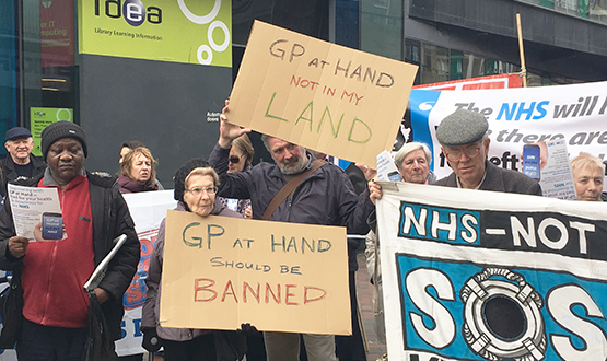 Patients and GPs gather for protest against GP at Hand