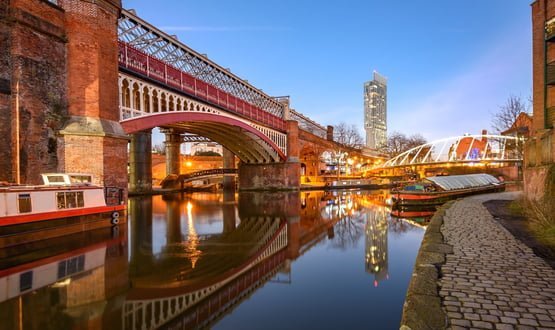 A photo of Manchester canals at twighlight