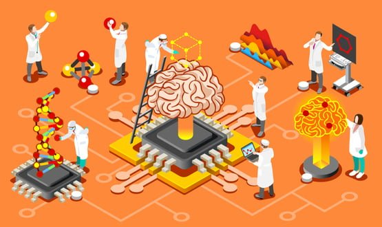 A graphic showing clinicians working around an AI 'brain'
