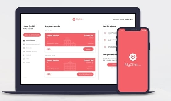 A screenshot of the MyClinic app, developed by Medicalhain, a medical blockchain firm