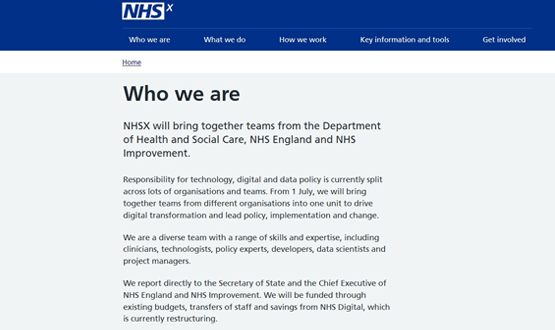 Suggestion NHSX will be funded by NHS Digital restructure is withdrawn