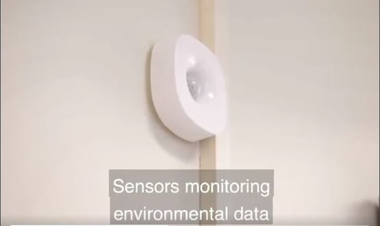 Tiny sensors placed around the home will monitor the environment - detecting if a patient has fallen, or hasn't moved for a while