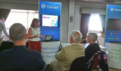 Emma Danton speaking at the launch of the Wirral Care Record