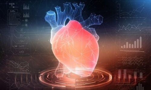 A computer-generated image of a heart with graphic elements