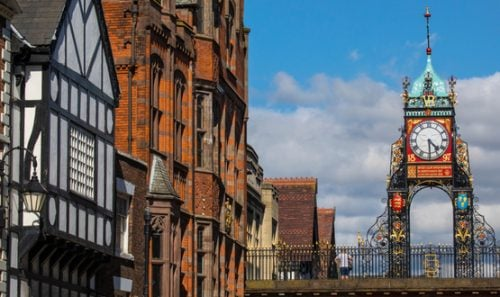 A view of the elegant Eastgate Clock in the historic city of Chester in Cheshire, UK