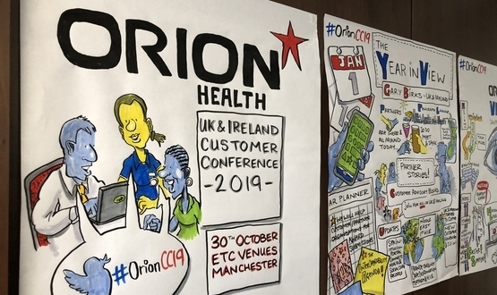 """Drawnalism"" sketches drawn during Orion Health's 2019 UK&I customer conference"