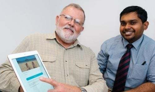 Veterans' Orthopaedic Service patient Timothy Lewis with Kevin Syam, Speciality Registrar in Veterans Trauma and Orthopaedics