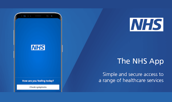 A screenshot of the NHS App from the google Play Store