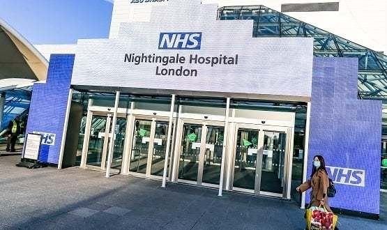 Exterior of NHS Nightingale Hospital at the London ExCel centre
