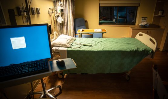 Computer in hospital room